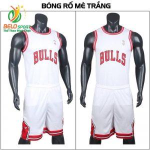 Quần áo bóng rổ người lớn BRS-05 vải mè màu trắng giá rẻ