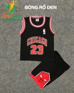 Quần áo bóng rổ trẻ em BRTE-04 vải mè màu đen giá rẻ