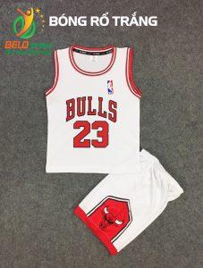 Quần áo bóng rổ trẻ em BRTE-05 vải mè màu trắng giá rẻ