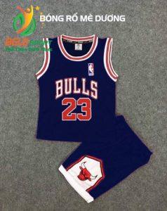 Quần áo bóng rổ trẻ em BRTE-07 vải mè màu xanh dương giá rẻ