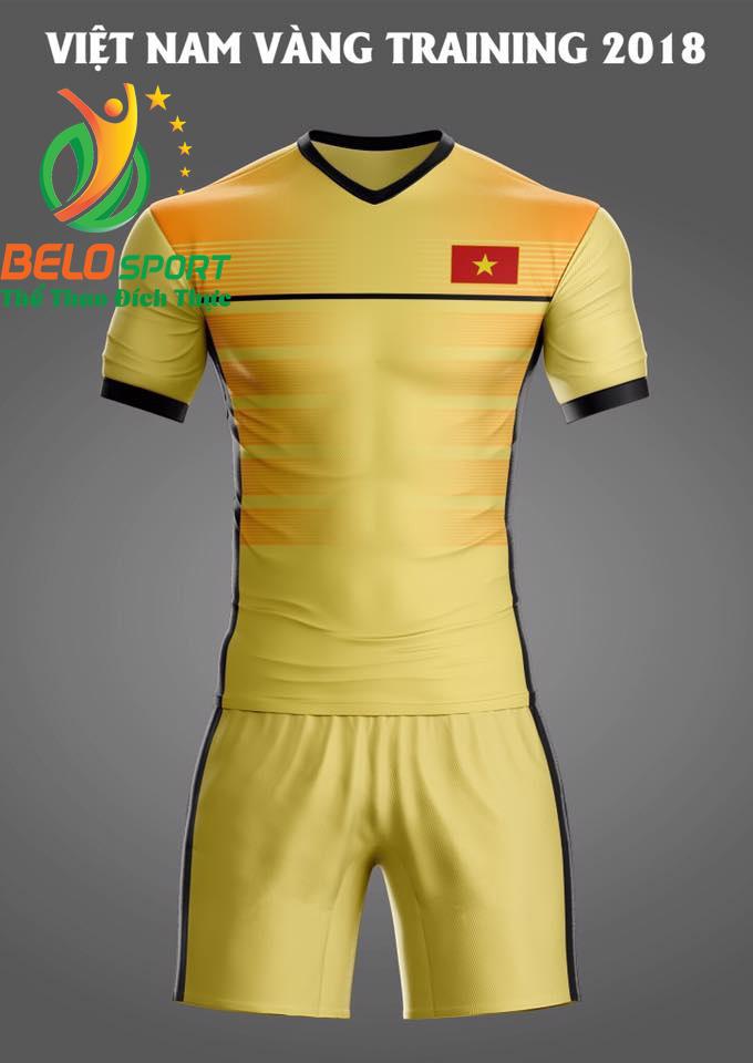 Áo bóng đá Việt Nam Traning 2018 màu vàng
