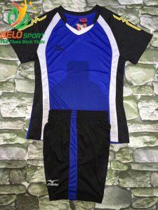 Áo bóng chuyền nữ màu xanh dương pha đen  2018-G9