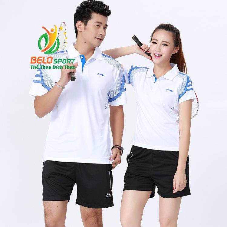 Áo cầu lông Lining2018 trắng sọc xanh ngọc