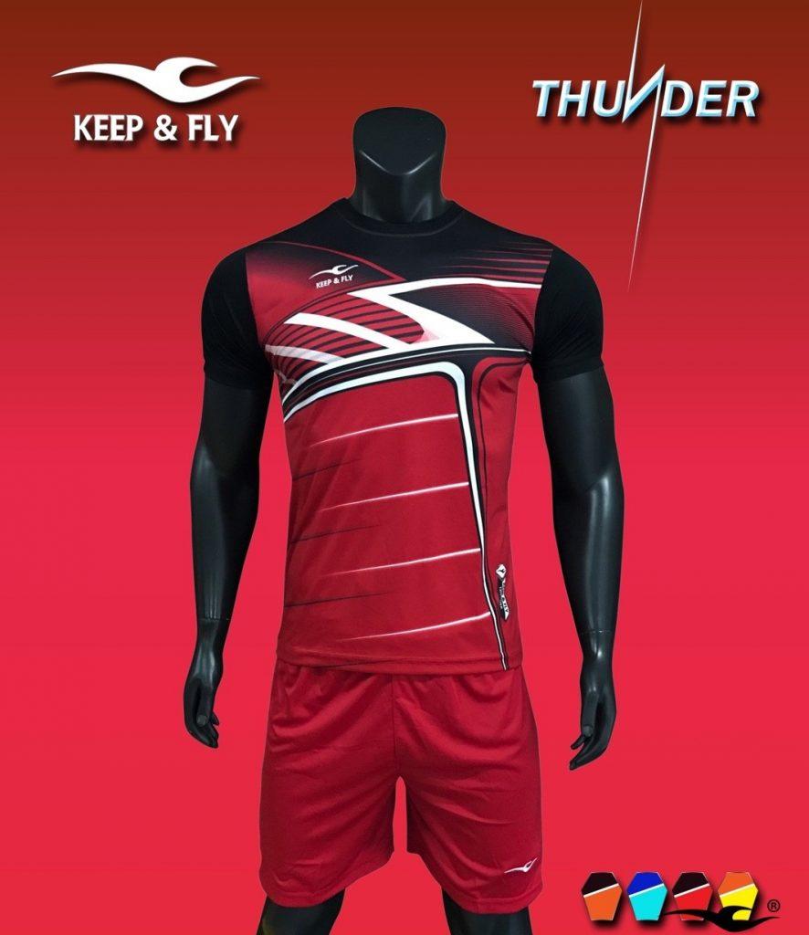 Áo bóng đá không logo 2018-03 màu đỏ