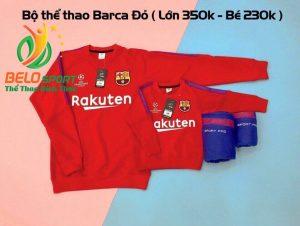 Bộ nỉ thể thao Barca mùa đông màu đỏ 2018