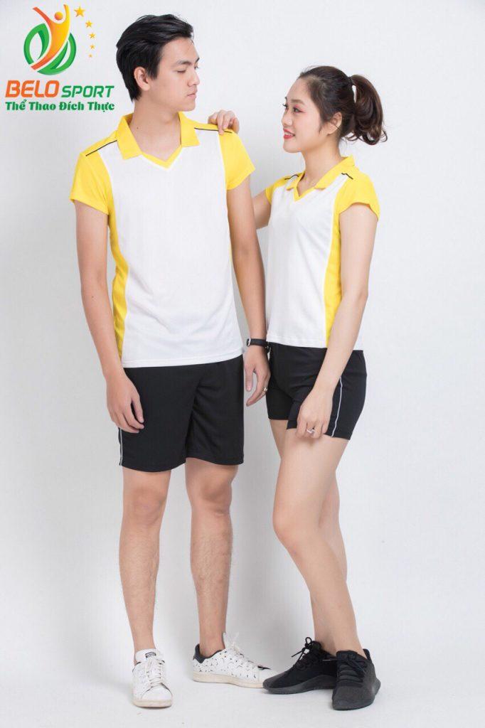 Áo bóng chuyền nam nữ donex 2018 chính hãng mã Belo-124-2018 trắng vàng