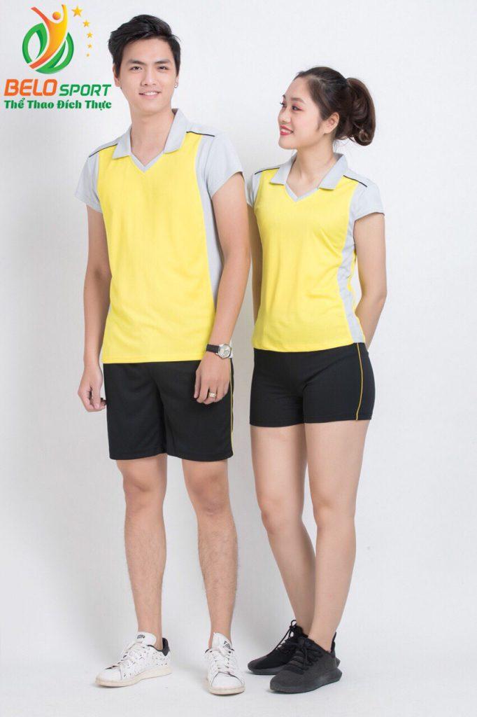 Áo bóng chuyền nam nữ donex 2018 chính hãng mã Belo-126-2018 vàng ghi