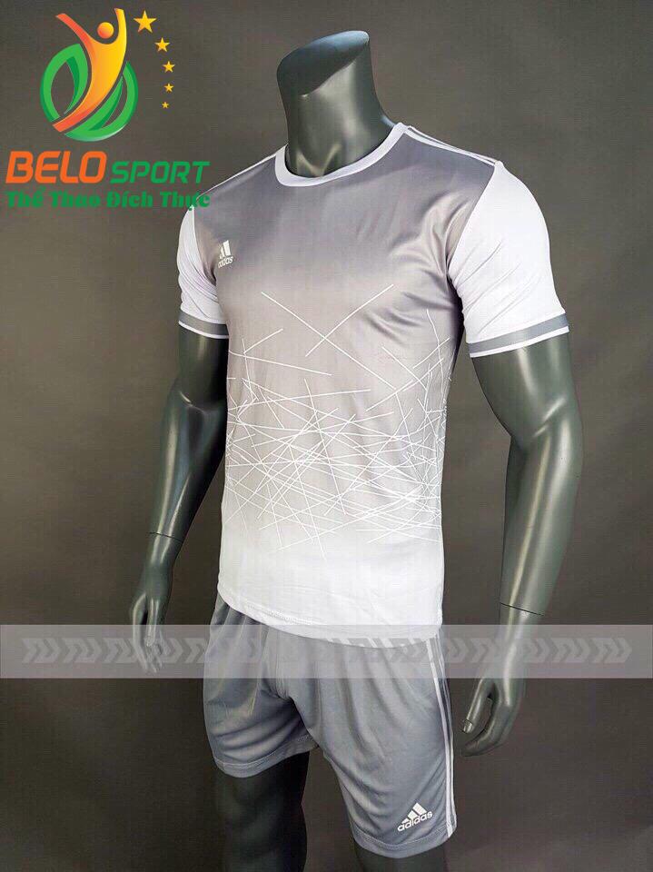 Áo bóng đá không logo X-Galaxy 2018 xám trắng vải thun thái
