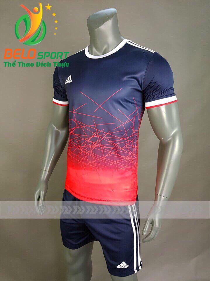 Áo bóng đá không logo X-Galaxy 2018 tím than pha đỏ vải thun thái