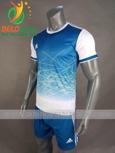 Áo bóng đá không logo X-Galaxy 2018 xanh trắng vải thun thái