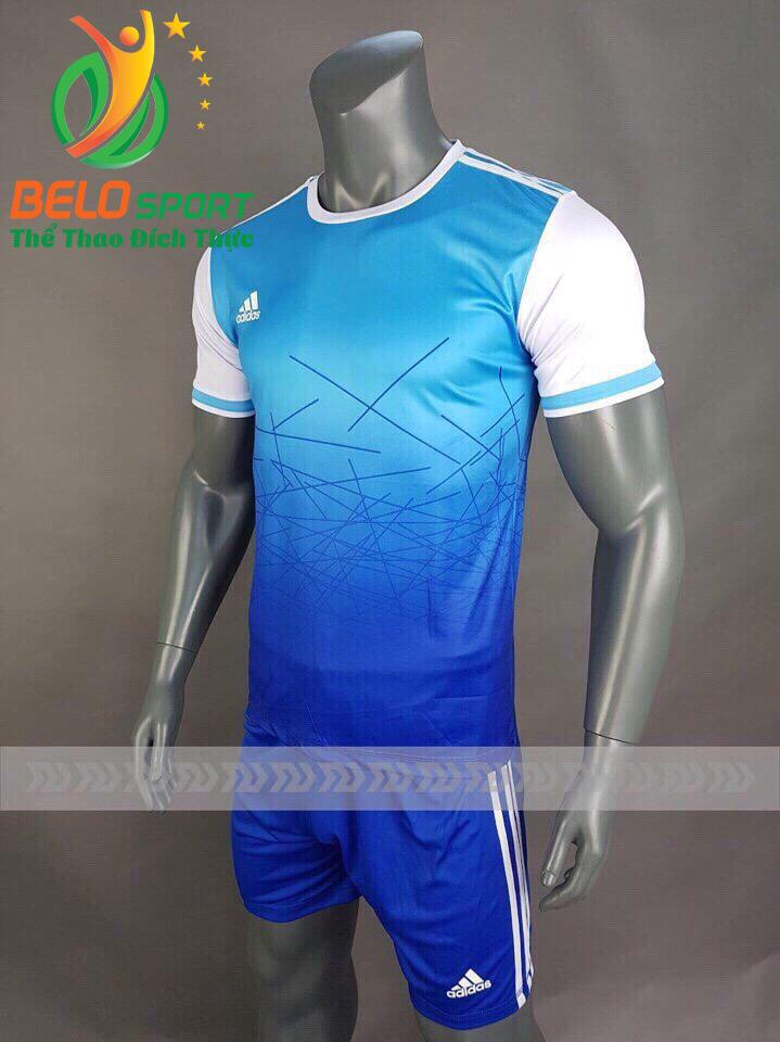 Áo bóng đá không logo X-Galaxy 2018 xanh biển vải thun thái