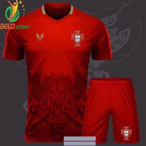 Áo bóng đá bồ đào nha dragon rồng màu đỏ 2018-2019 thun thái