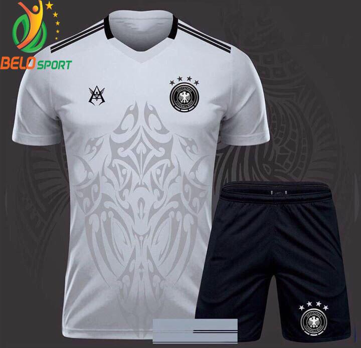 Áo bóng đá tuyển đức dragon rồng màu trắng 2018-2019 thun thái