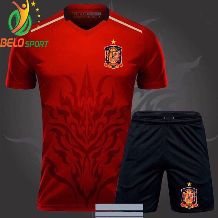 Áo bóng đá tây ban nha dragon rồng màu đỏ 2018-2019 thun thái