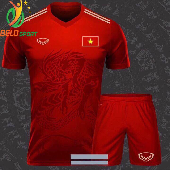 Áo bóng đá Việt Nam dragon rồng màu đỏ 2018-2019 thun thái