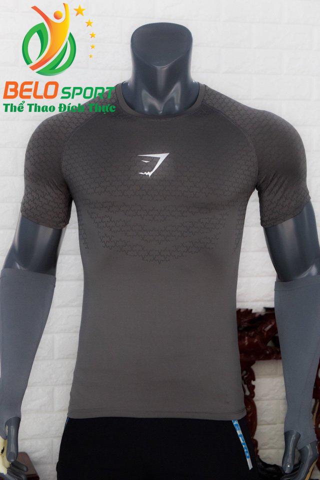 Áo tập gym body fit SHARK độc quyền Belo mã A-088 màu xám