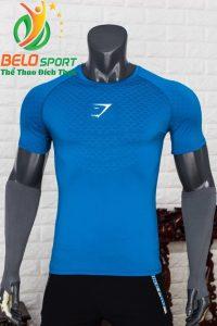 Áo tập gym body fit SHARK độc quyền Belo mã A-088 màu xanh bích