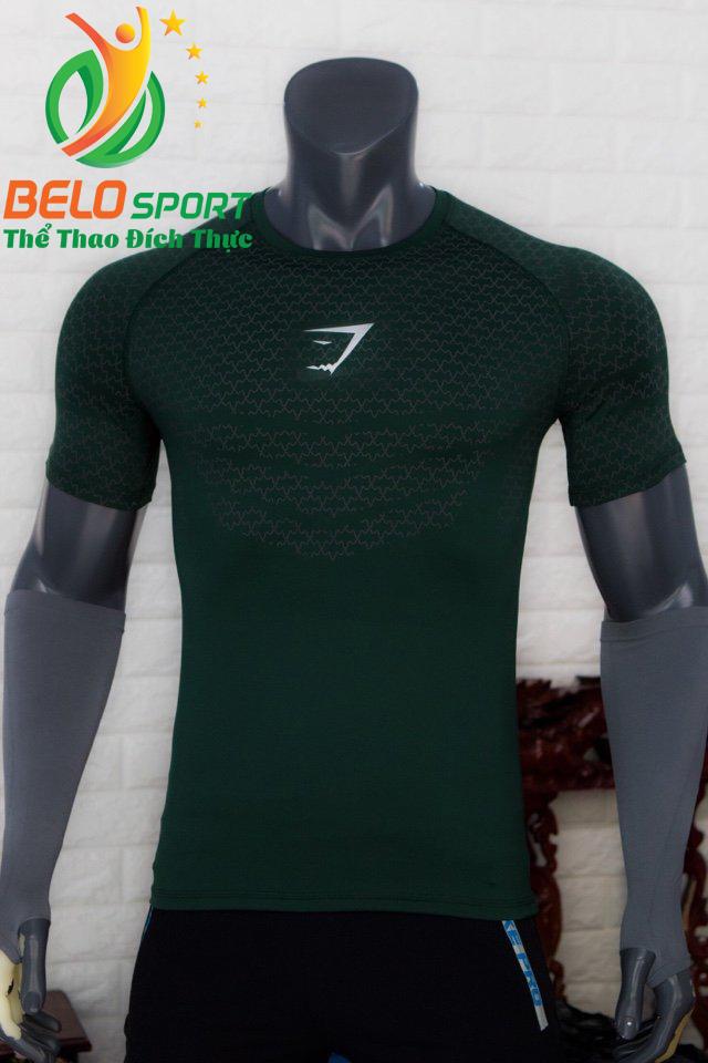 Áo tập gym body fit SHARK độc quyền Belo mã A-088 màu xanh lính