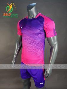 Áo bóng đá không logo Belo D-015 màu hồng pha xanh