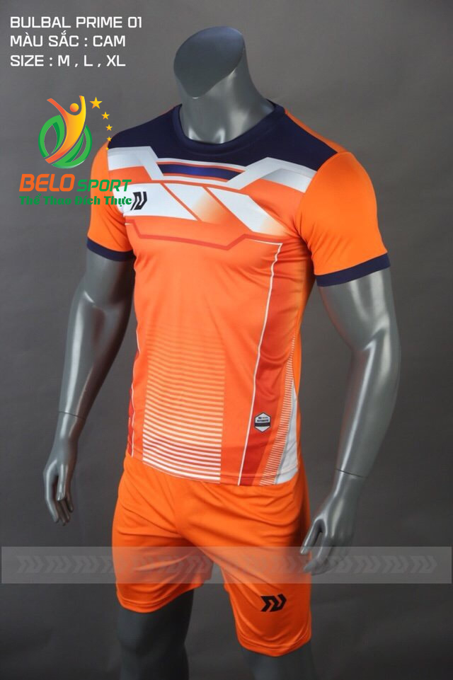 Áo bóng đá không logo Belo D-023 màu cam