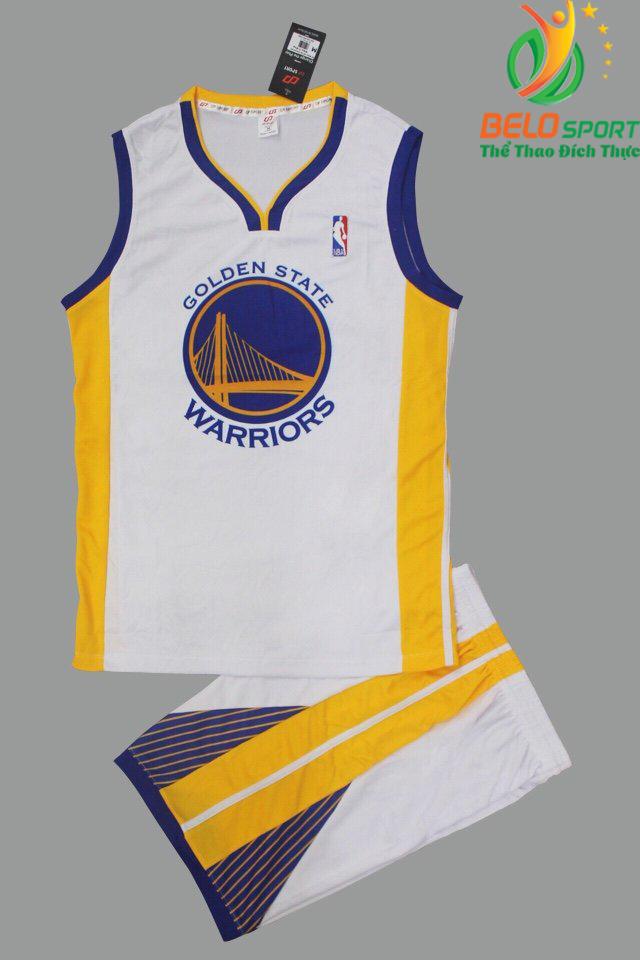 Bộ quần áo bóng rổ Golden State màu trắng giá rẻ