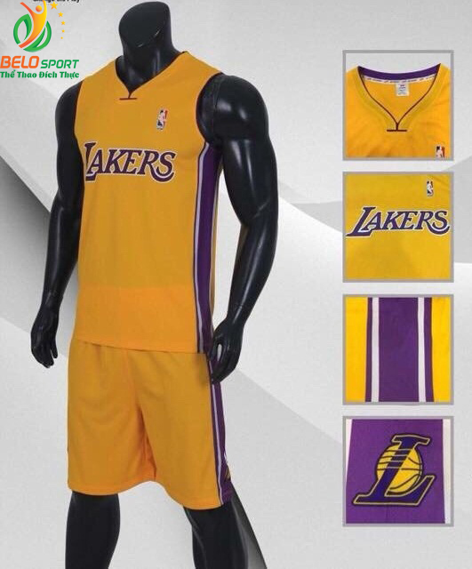 Bộ Quần Áo Bóng Rổ Lakers màu vàng