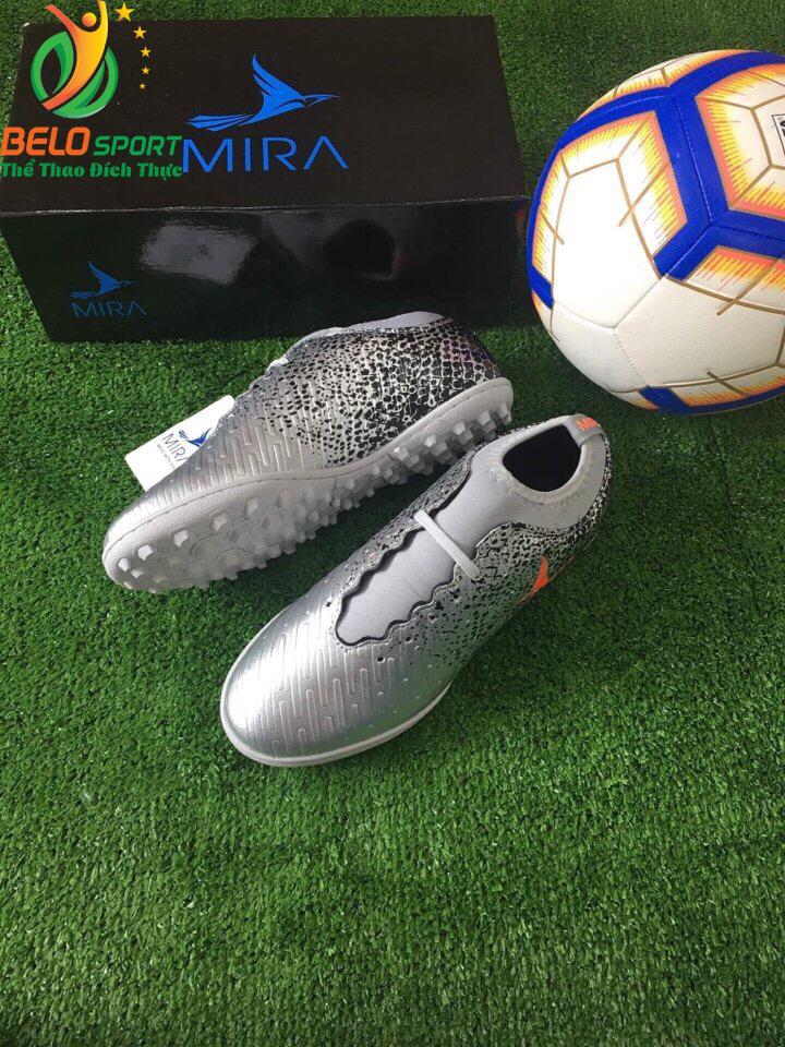 Giày bóng Mira chính hãng M999-02 màu bạc pha đen