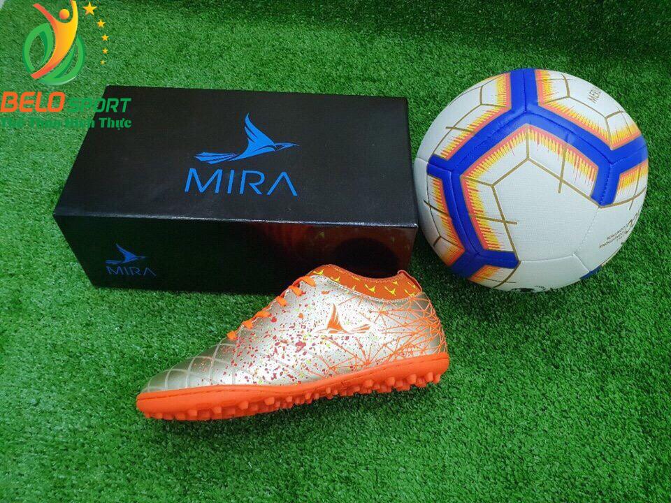 Giày bóng Mira chính hãng M999-01 màu trắng pha cam