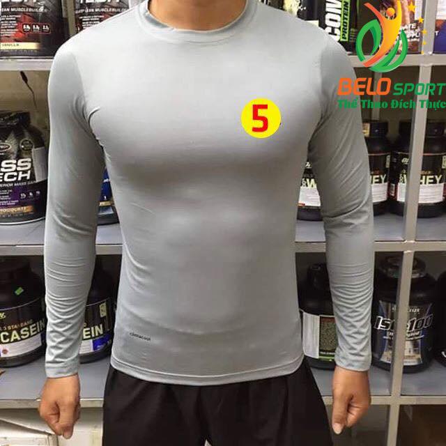 Áo Lót Body Bóng đá Cao Cấp Thun Thái Co Giãn 4 chiều Màu Xám Số 5
