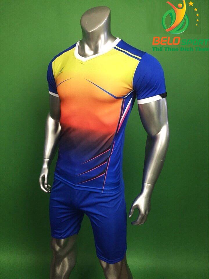 Áo bóng đá không logo Belo D-028 màu xanh dương pha vàng
