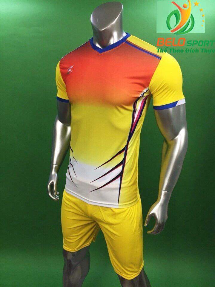 Áo bóng đá không logo Belo D-029 màu vàng pha đỏ