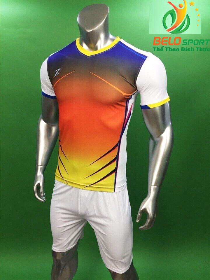 Áo bóng đá không logo Belo D-031 màu trắng pha đỏ