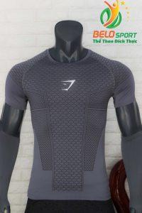 Áo tập gym body fit SHARK độc quyền Belo mã A-099 màu xám