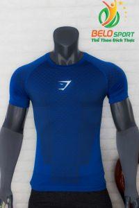 Áo tập gym body fit SHARK độc quyền Belo mã A-099 màu xanh bích