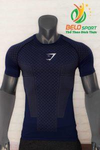 Áo tập gym body fit SHARK độc quyền Belo mã A-099 màu xanh tím than