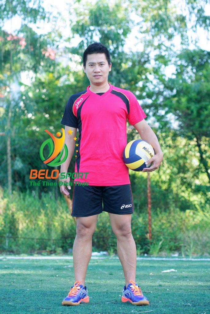 Áo bóng chuyền nam Asics màu đỏ hàng cao cấp