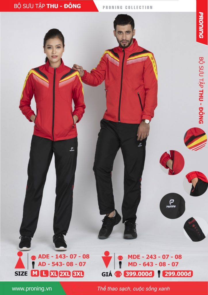 Bộ quần áo khoác gió chính hãng proning 2018 nam nữ màu đỏ