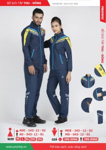 Bộ quần áo khoác gió chính hãng proning 2018 nam nữ màu tím than