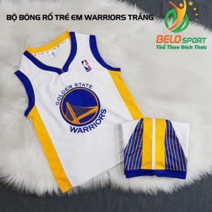 Áo bóng rổ trẻ em CLB Warrior Golden state trắng giải NBA nhà nghề