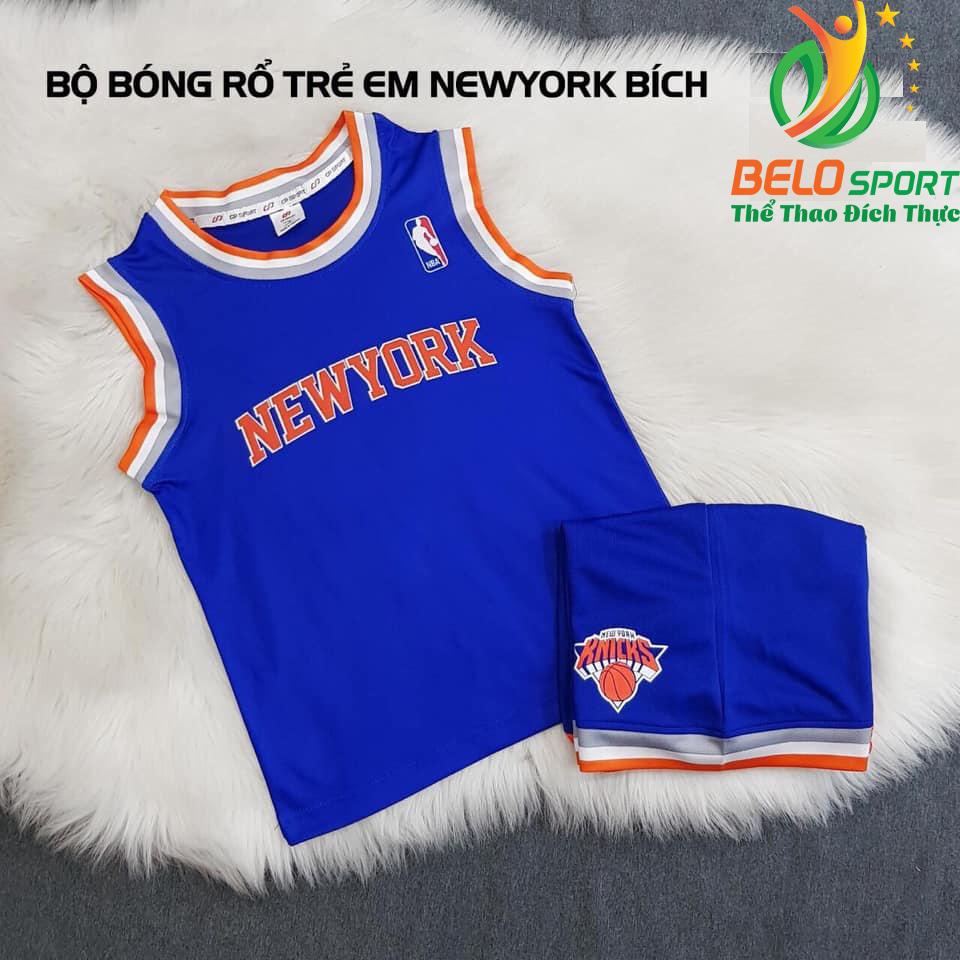 Áo bóng rổ trẻ em CLB New York xanh biển giải NBA nhà nghề