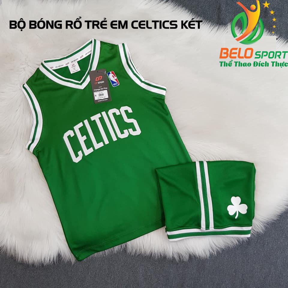 Áo bóng rổ trẻ em CLB Celtics xanh lá giải NBA nhà nghề