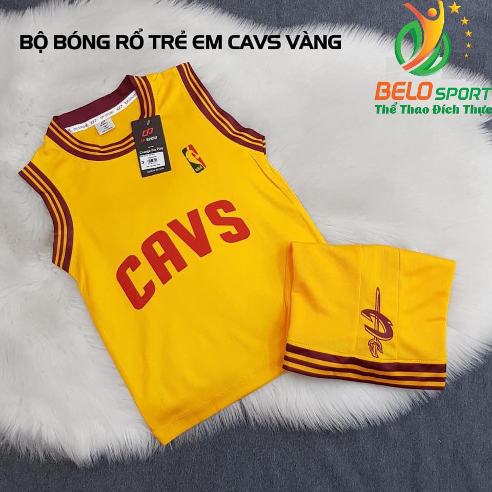 Áo bóng rổ trẻ em CLB CAVS màu vàng giải NBA nhà nghề