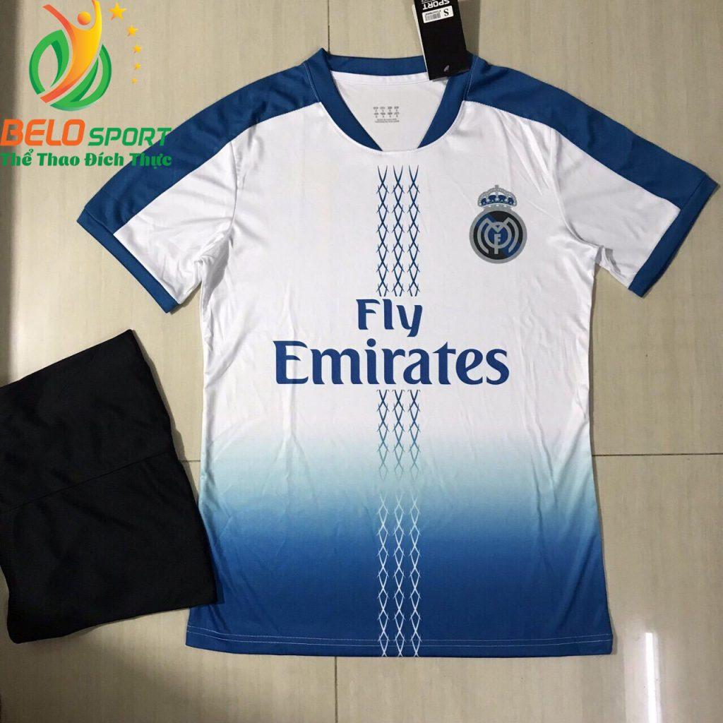 Áo bóng đá câu lạc bộ Real 2018-2019 màu trắng pha xanh