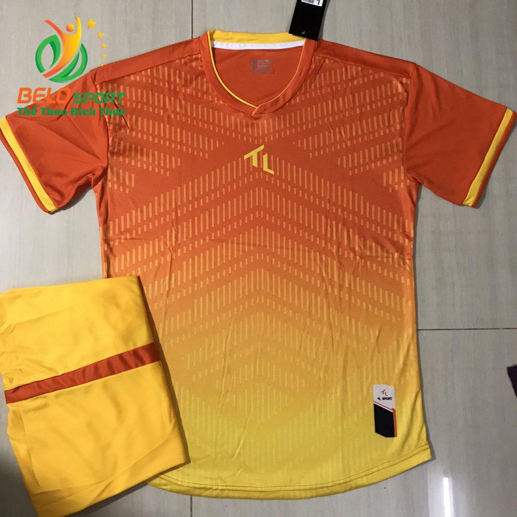 Áo bóng đá không logo màu cam pha vàng 2019-K04