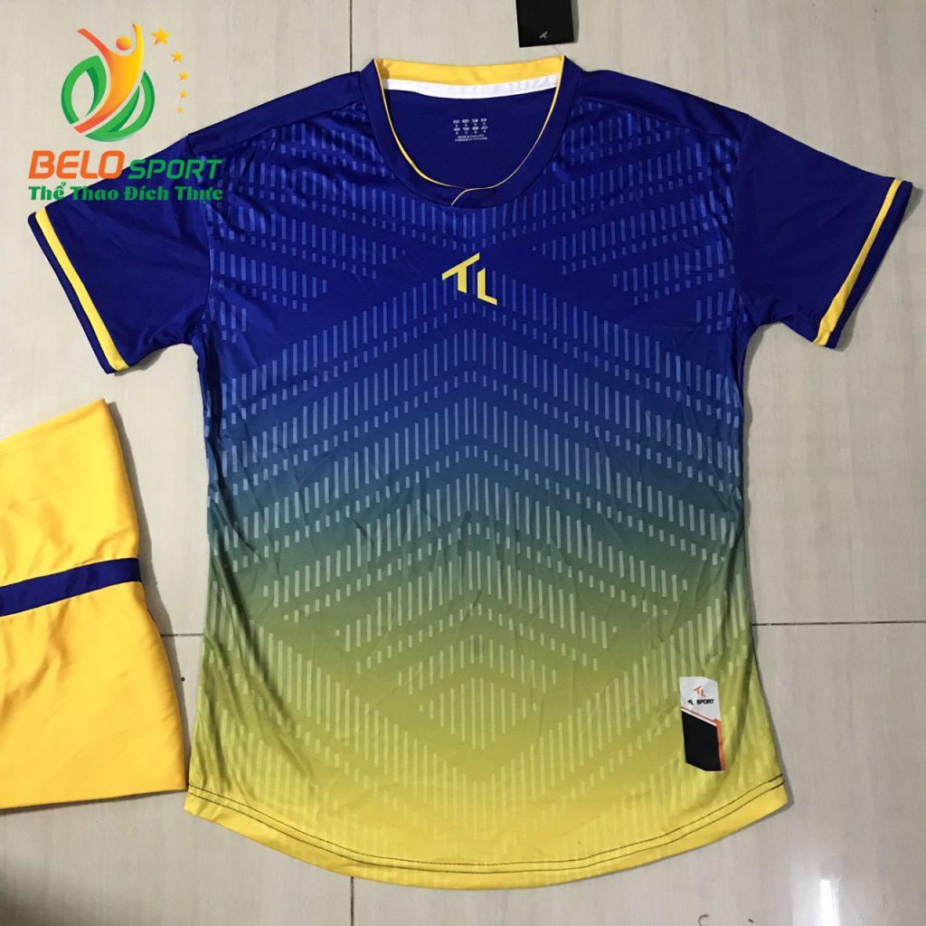 Áo bóng đá không logo màu xanh đậm pha vàng 2019-K06