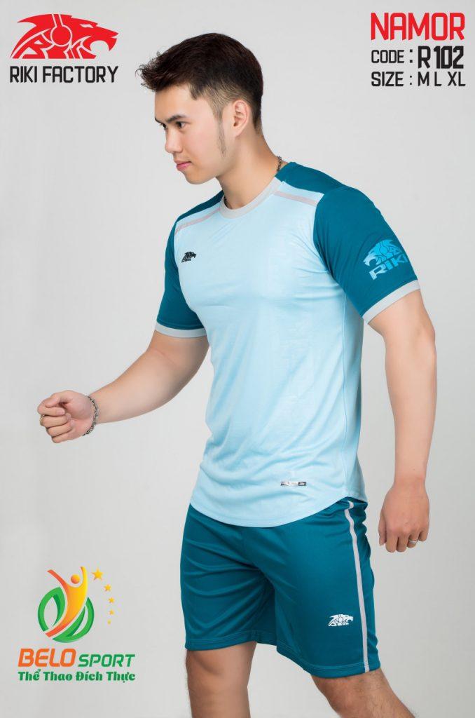 Áo Bóng đá không logo màu xanh 2019 K028