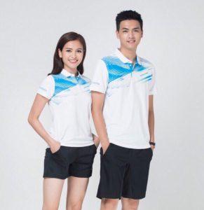 Áo cầu lông Lining nam nữ 2019 mã ACL-999 màu trắng pha xanh