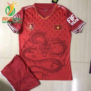 Áo Bóng đá đội tuyển Việt Nam độc quyền 2019 màu đỏ pha rồng