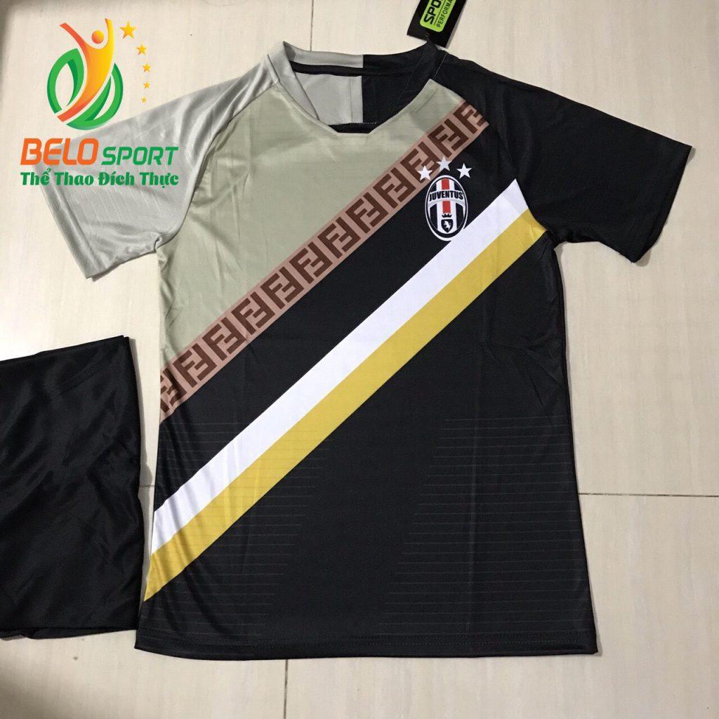 Áo bóng đá CLB juvestus 2019 đọc quyền thiết kế màu xam pha đen