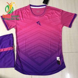 Áo bóng đá không lô gô K-010 2019 giá rẻ màu hồng pha tím